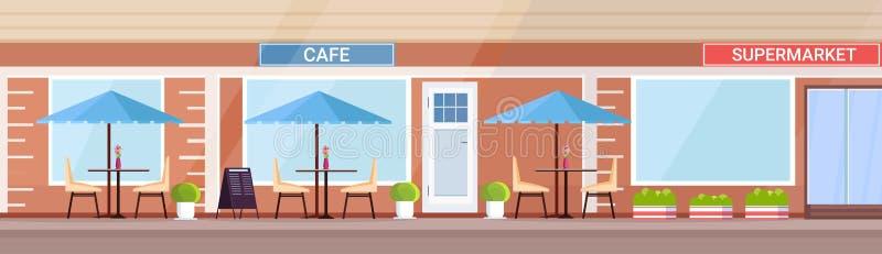 Außenleeres des modernen Sommercafé-Geschäftes keine Cafeteria der Leutestraßenrestaurant-Terrasse im Freien im Supermarktgebäude lizenzfreie abbildung