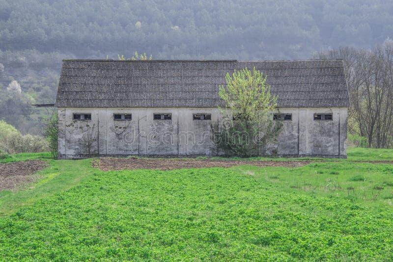Außenwand von alten getragenen Scheunentüren stockbild