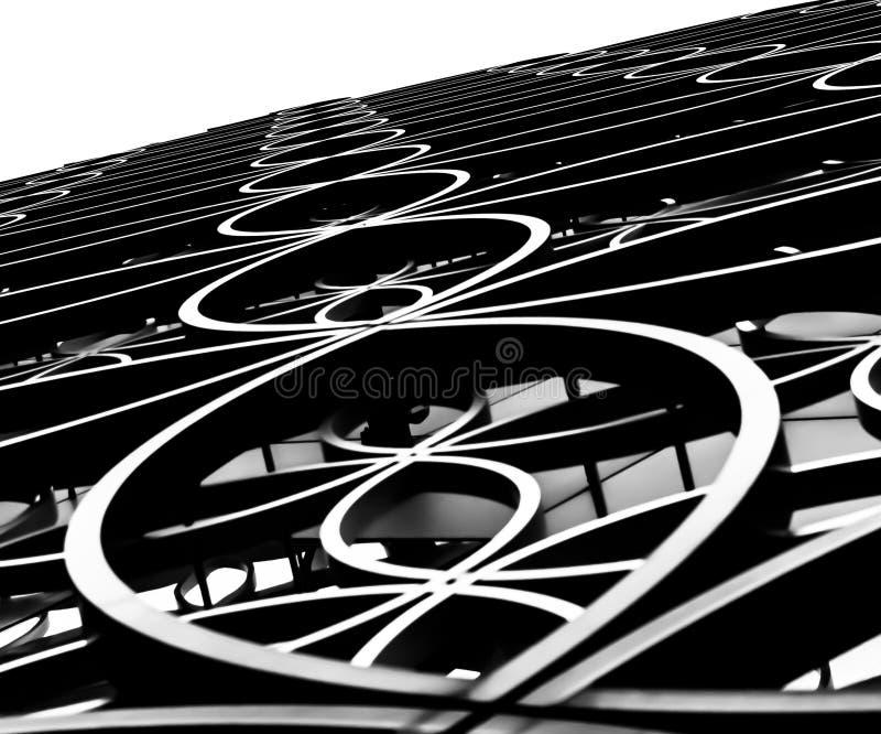 Außerhalb Birmingham-Bibliothek, abstrakte Schwarzweiss-schöne Kunst lizenzfreies stockbild