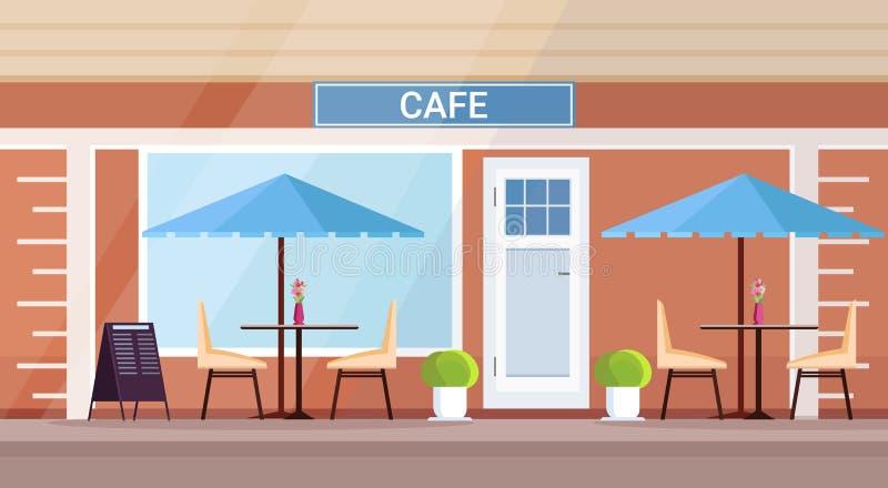 Außenleeres des modernen Sommercafé-Geschäftes keine Cafeteria der Leutestraßenrestaurant-Terrasse im Freien flach horizontal stock abbildung