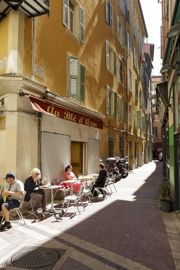 Au Ble d'Azur Restaurant na cidade velha imagem de stock