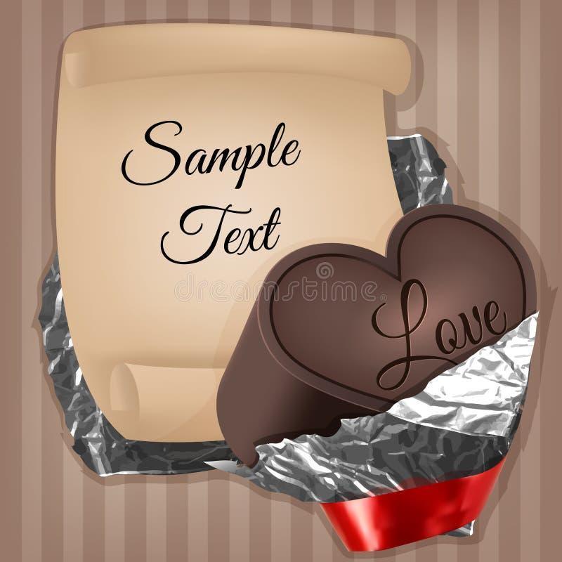 Au coeur avec très le ruban de chocolat déjouez et empaquetez la feuille image stock