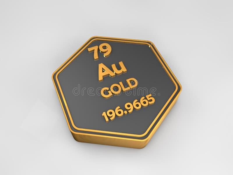 Au d'oro - forma esagonale della tavola periodica dell'elemento chimico illustrazione vettoriale