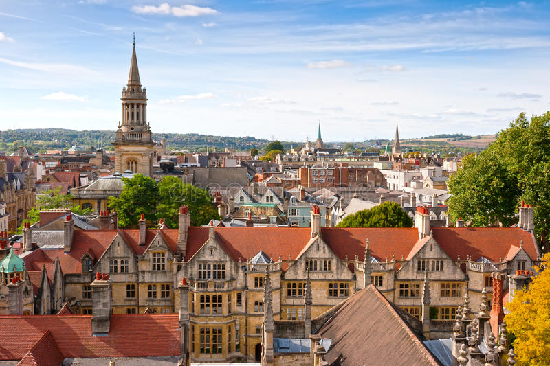 Au-dessus d'Oxford. l'Angleterre photo stock