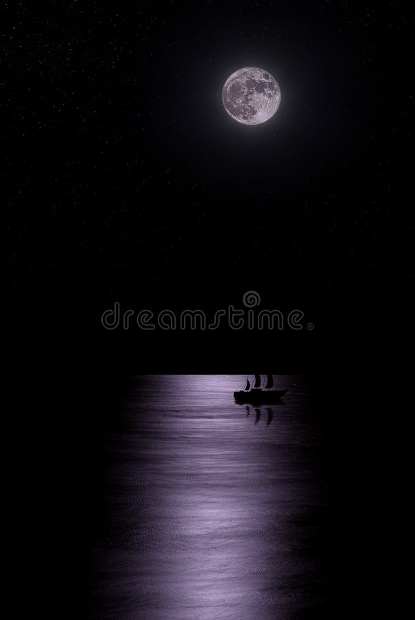 au-dessus de l'eau de lune photo stock