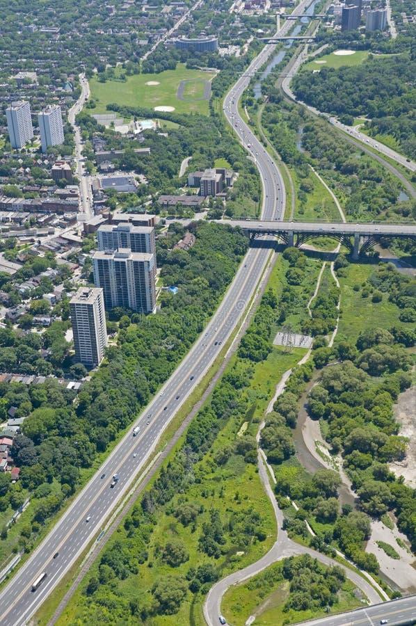 Au-dessus de la route express de vallée de Toronto - de Don image stock