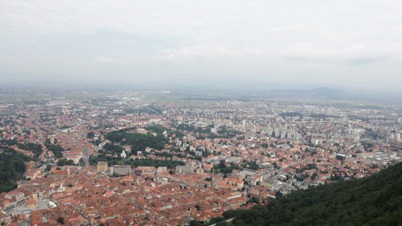 Au-dessus de la vue de Brasov photo stock