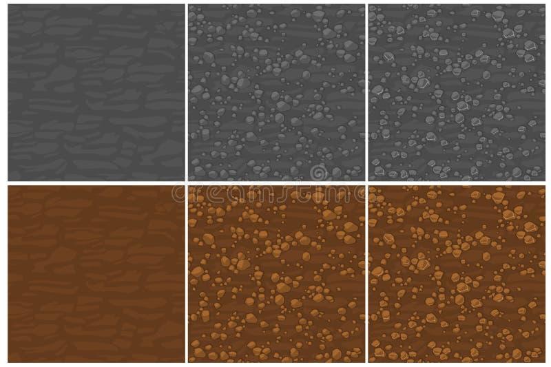 Au sol sans couture de texture avec de petites pierres, dessin de 3 étapes Pierres sans couture mignonnes de modèle Vecteur sans  illustration stock
