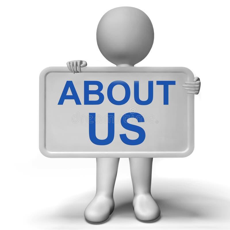 Au sujet de nous signe affichant le profil et l'information d'entreprise illustration de vecteur