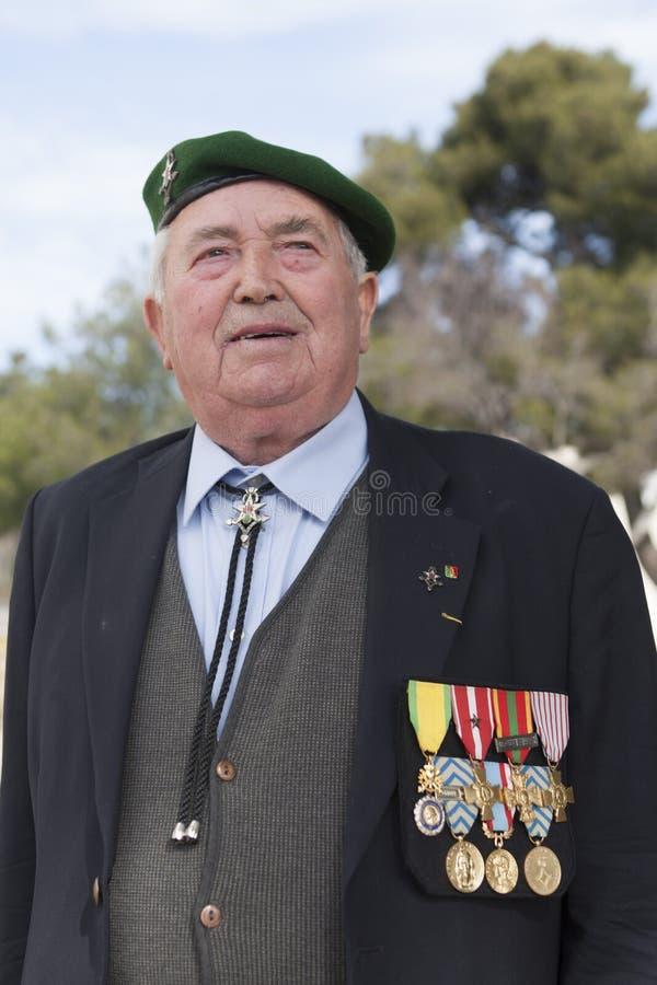 Aubagne, France 11 mai 2012 Portrait d'un vétéran de la légion étrangère française dans un béret vert photo stock