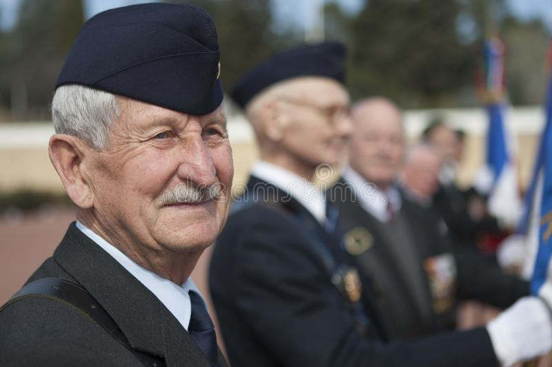 Aubagne, France. May 11, 2012. Portrait of a veteran of the French foreign legion in the ranks of veterans . stock photos