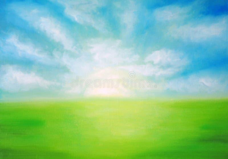 Aube au-dessus du pré vert illustration libre de droits