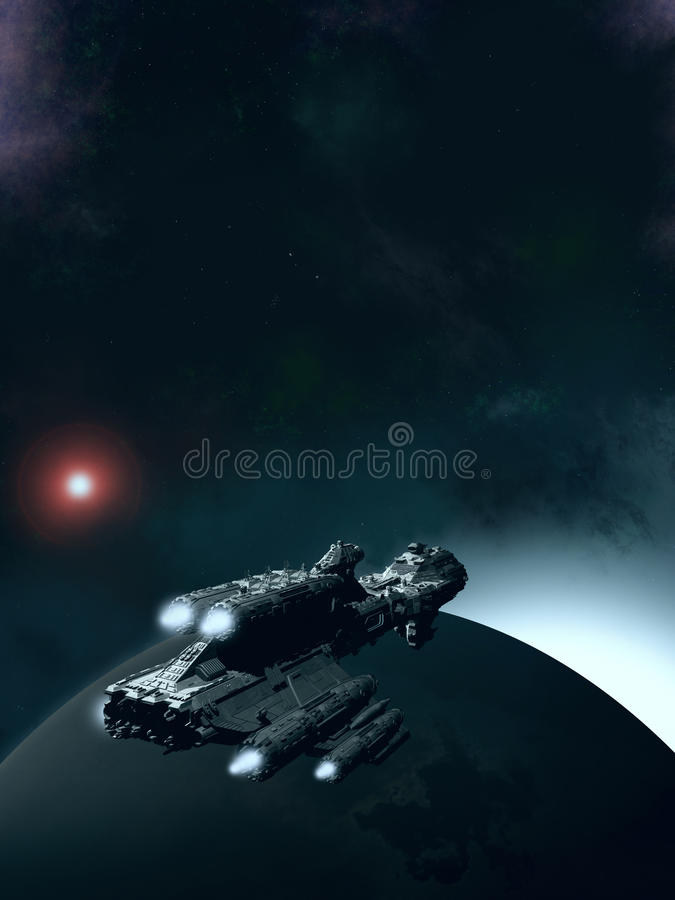 Aube de approche - vaisseau spatial en orbite illustration libre de droits