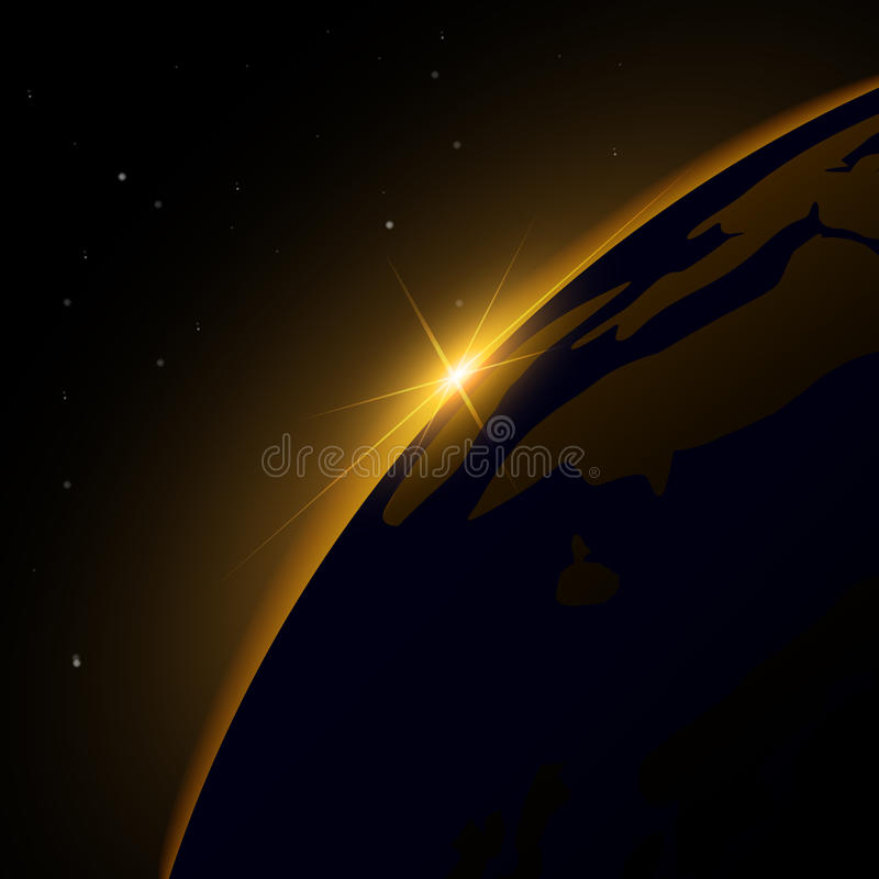 Aube de l'espace Aube de l'espace Soleil Levant derrière la terre Fond de vecteur illustration libre de droits