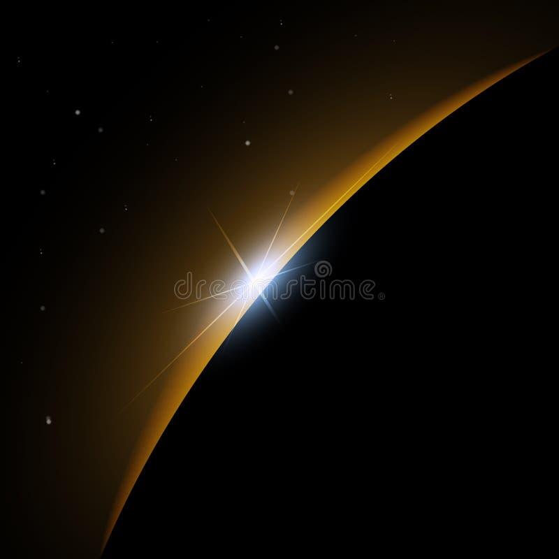 Aube de l'espace Aube de l'espace Soleil Levant derrière la terre Fond de vecteur illustration stock