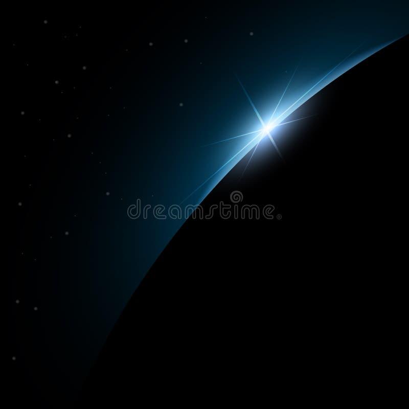 Aube de l'espace Aube de l'espace Soleil Levant derrière la terre Fond de vecteur illustration de vecteur