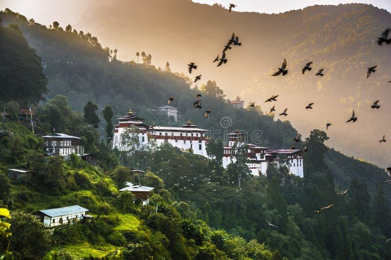 Aube de Trongsa Dzong, oiseaux roulant dans le ciel au-dessus du château, Bhutan images libres de droits