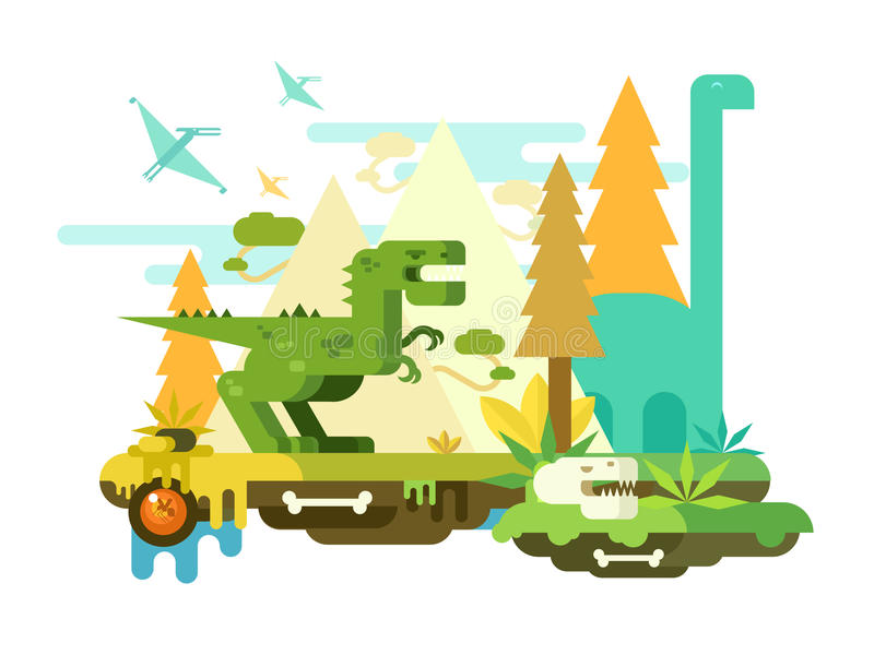 Aube des dinosaures illustration stock