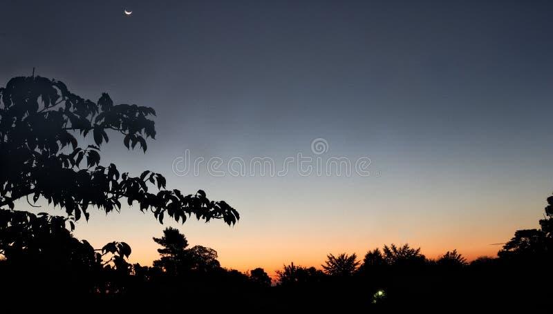Aube et la lune photographie stock libre de droits