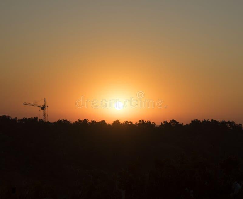 Aube, lever de soleil, bâtiment, grue, nature, forêt, sapin photographie stock