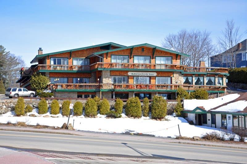 Auberge d'Adirondack dans le Lake Placid, NY, Etats-Unis photo stock