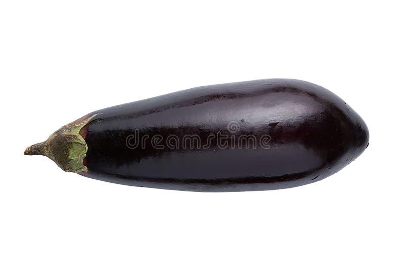 aubergine Één verse die aubergine met stam op witte achtergrond wordt geïsoleerd royalty-vrije stock afbeeldingen