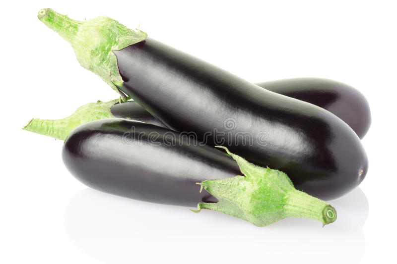 Aubergine. Or eggplant on white, clipping path included royalty free stock photo
