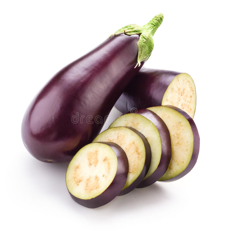 Aubergine (aubergine) op wit royalty-vrije stock fotografie