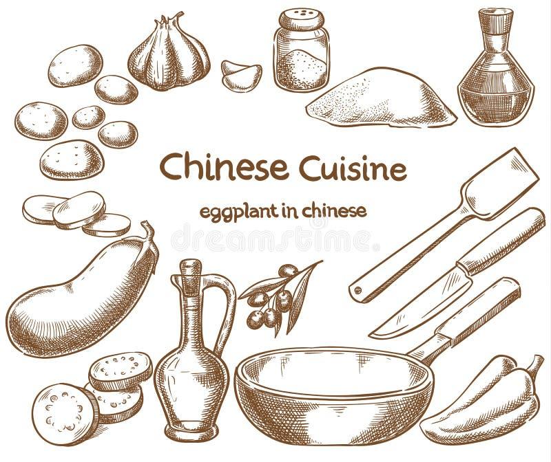 Aubergine in Chinees, ingrediënten van het voedsel stock illustratie