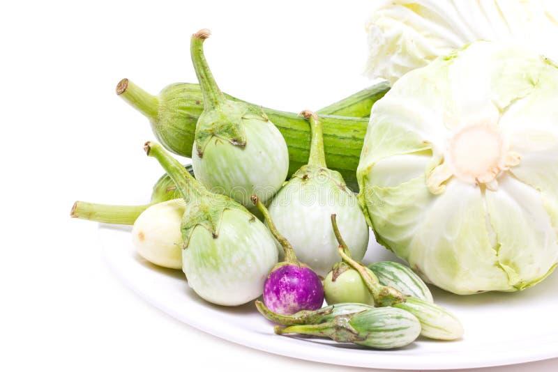 Aubergine de variété, courge d'éponge et chou. photo stock