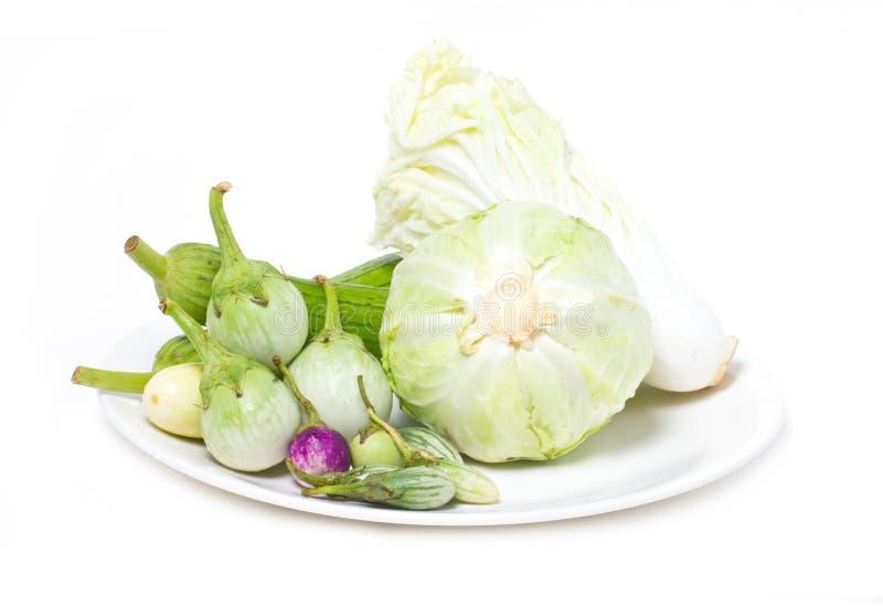 Aubergine de variété, courge d'éponge et chou. photographie stock libre de droits