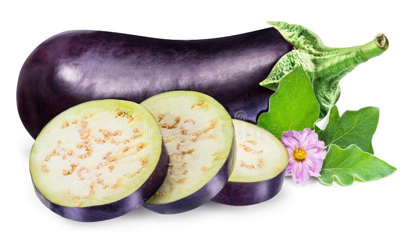 Aubergine or eggplant with aubergine flower and leaves on white royalty free stock image