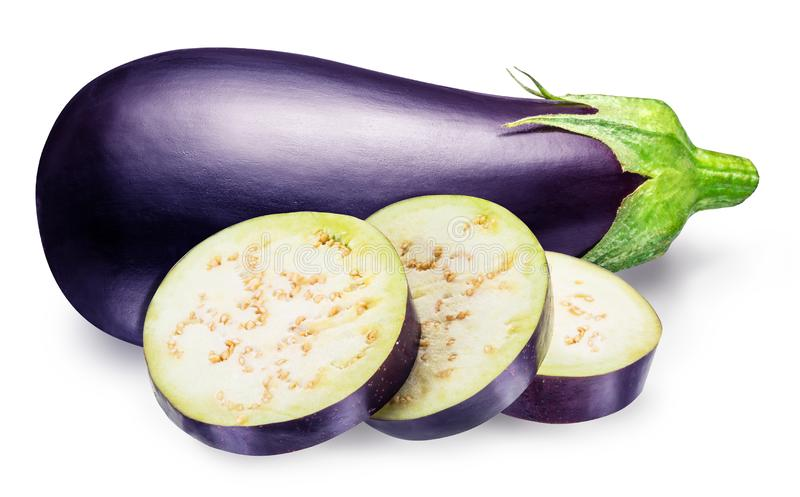 Aubergine or eggplant with aubergine slices on white background. stock photos