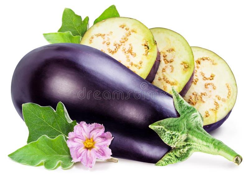 Aubergine eller aubergine med aubergineblomman och sidor på vit fotografering för bildbyråer