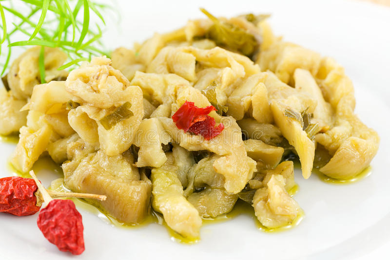 Aubergine en huile d'olive photo stock