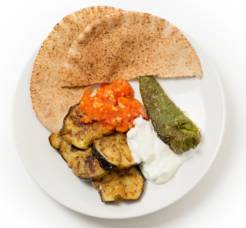 Aubergine meze plate from above stock image