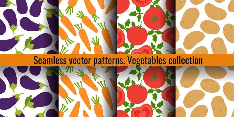 Aubergine, morot, tomat och potatis Sömlös modelluppsättning för grönsaker Modedesign Mattryck för gardin tecknad handvektor royaltyfri illustrationer