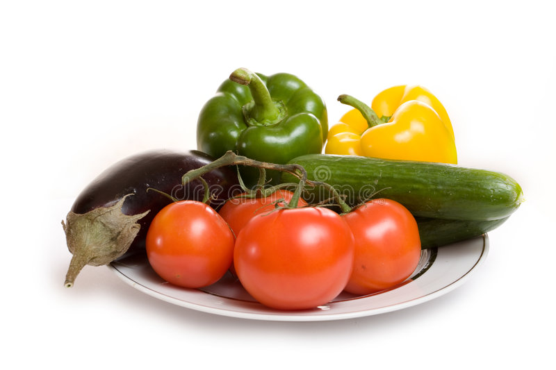 Download Aubergine Tomato Cucumber Sweet Pepper On Plate Stock Image - Image: 7271419
