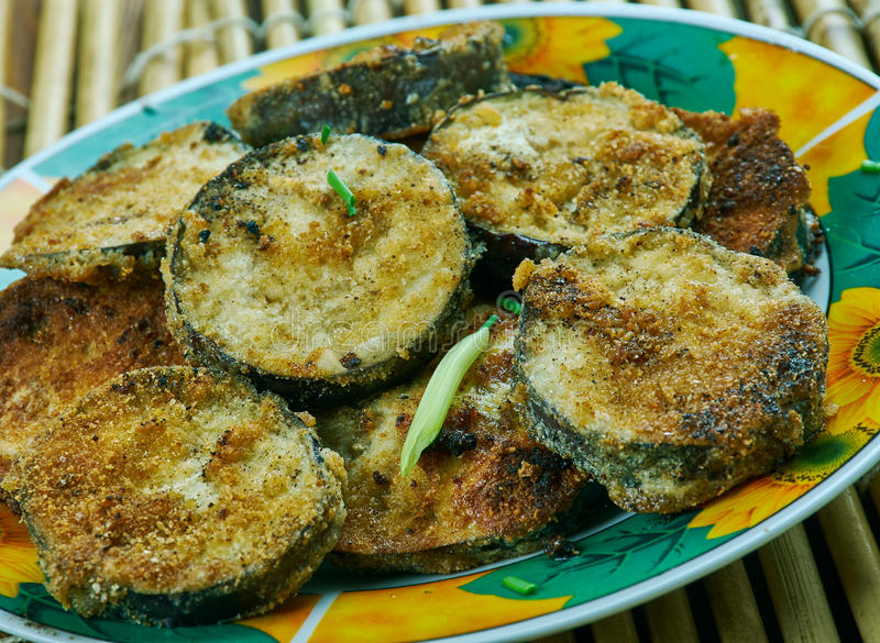 Auberginefritters royalty-vrije stock foto