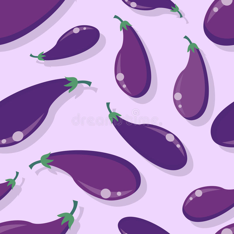 Auberginen-nahtloser Muster-Vektor im flachen Design lizenzfreie abbildung