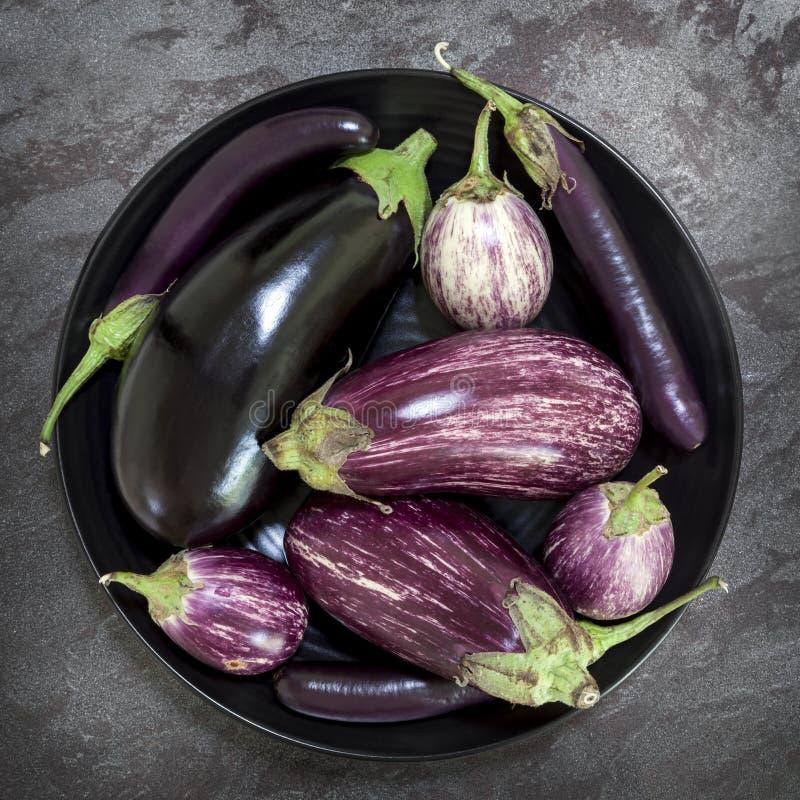 Auberginen-Vielzahl in der schwarzen Schüssel auf Schiefer-obenliegender Ansicht lizenzfreies stockfoto
