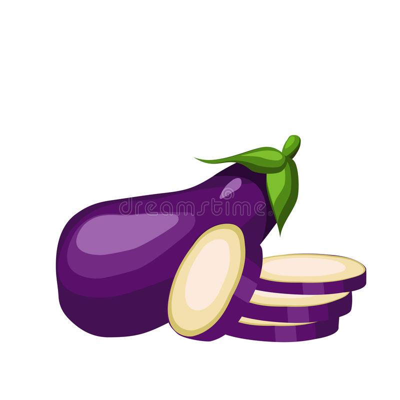 Auberginenganze und geschnittene Gemüseringe, gesunde Nahrung Auch im corel abgehobenen Betrag vektor abbildung