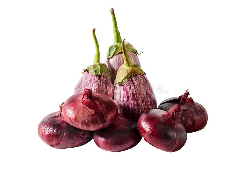 Aubergines and purple onion isolated. Selective focus stock photo