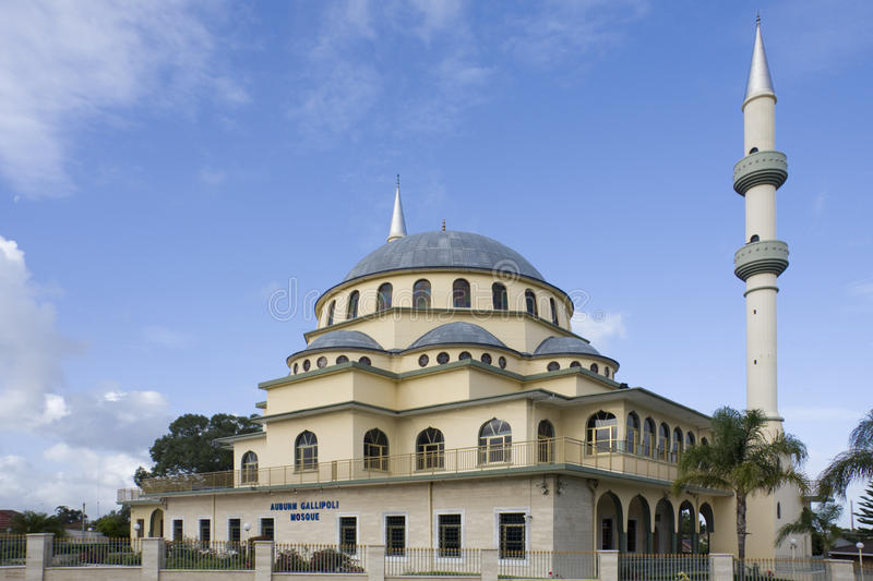 Auburn Gallipoli Mosque. In Auburn, Sydney. Classical Ottoman with central dome and minarets designed by Omer Kirazoglu royalty free stock photos
