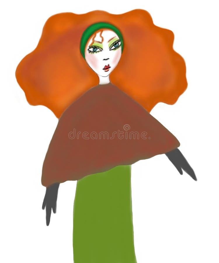 Auburn head in Autumn Colors stock illustration