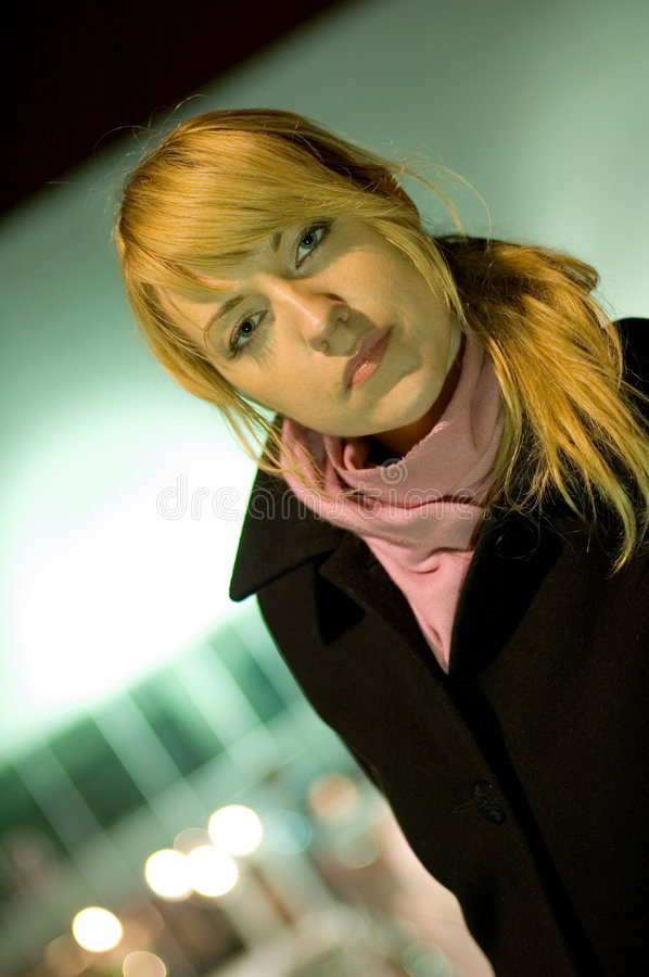 Download Auburn woman with scarf stock photo. Image of stares, hair - 1635478