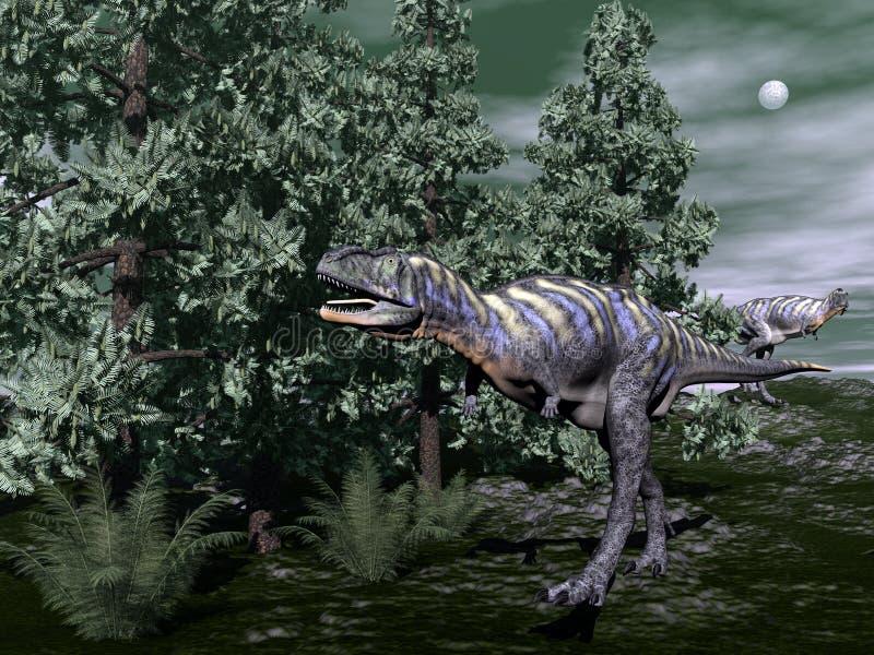 Aucasaurusdinosaurus 3D lopen - geef terug vector illustratie