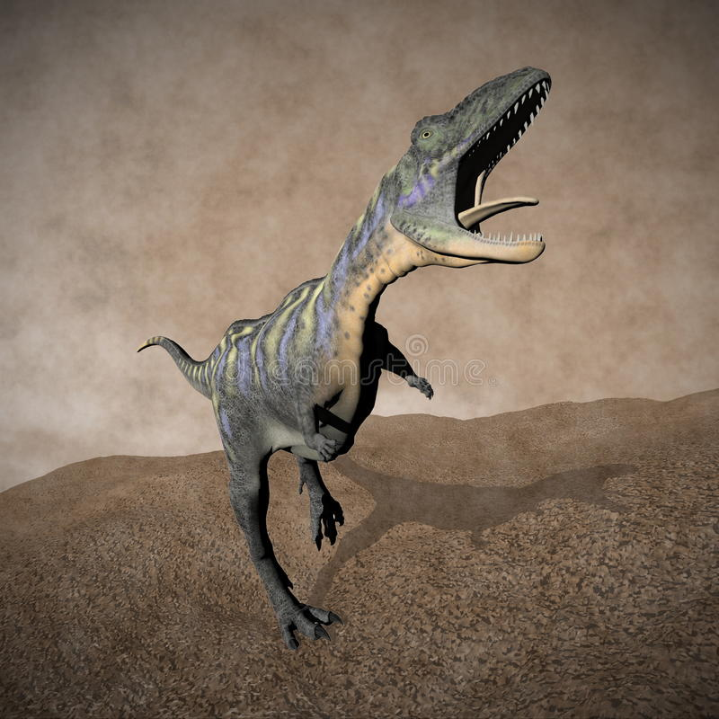Aucasaurusdinosaurus die 3D brullen - geef terug stock illustratie