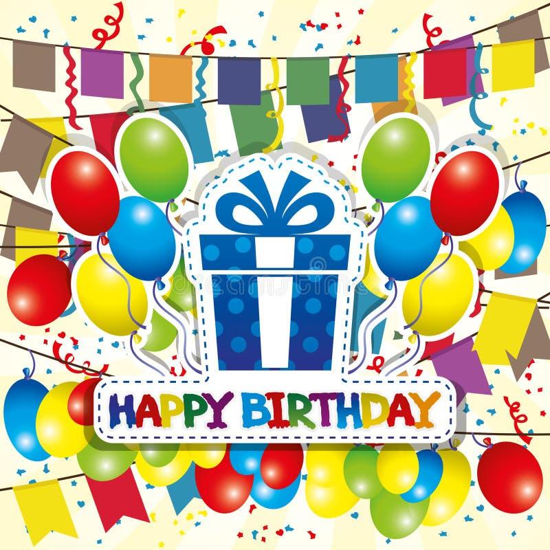 Auch im corel abgehobenen Betrag Alles Gute zum Geburtstag stock abbildung