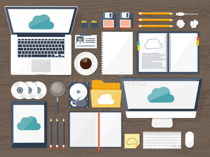 Auch im corel abgehobenen Betrag Arbeitsplatz, Tabelle mit Dokumenten, Computer Datenverarbeitungshintergrund der flachen Wolke M lizenzfreie abbildung